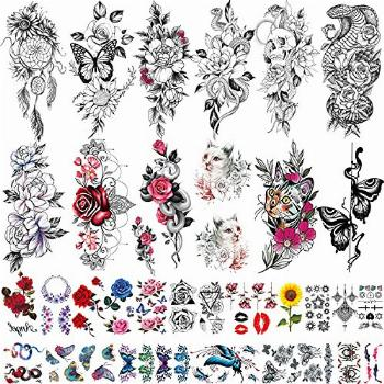 42 Sheets Temporary Tattoos Flowers Butterfly Cute Cat Style