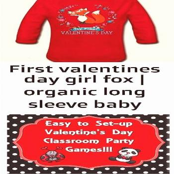 day girl fox | organic long sleeve baby bodysuit -  My 1st Valentines Day cute woodland fox outfit