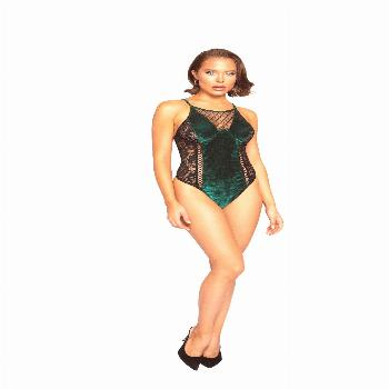 For Your Eyes Only! LI335 - Velvet & Lace Teddy With Lace-Up Trim Take an additional 30% Off Using