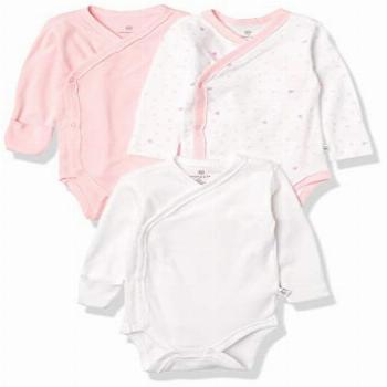 HonestBaby 3-Pack Organic Cotton Long Sleeve Side-Snap
