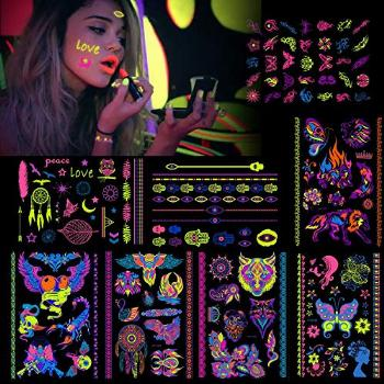 HOWAF 8 Large Sheets Neon Temporary Tattoos, 100+ Shimmer