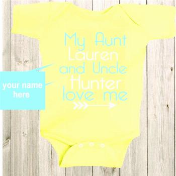 similar to My Aunt and Uncle Love Me Baby Shirt Custom Shirt Aunt Shirt Personalized Baby Bodysuit