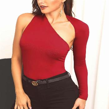 Solid One Shoulder Cutout Bodysuit Solid One Shoulder Cutout Bodysuit Shop Women's Trendy Clothes O
