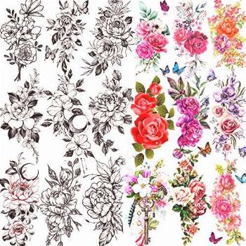 TASROI 18 Sheets Sexy Flower Rose Temporary Tattoos For