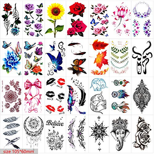 42 Sheets Temporary Tattoos for Men and Women,Fake Tattoo